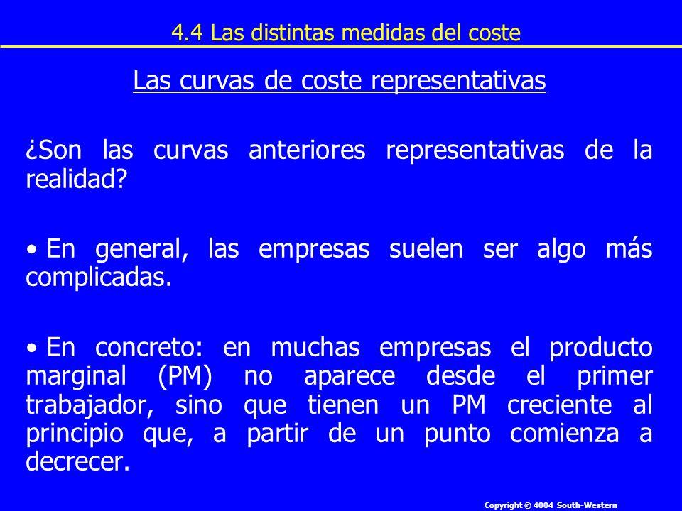 Copyright © 4004 South-Western Las curvas de coste representativas ¿Son las curvas anteriores representativas de la realidad? En general, las empresas