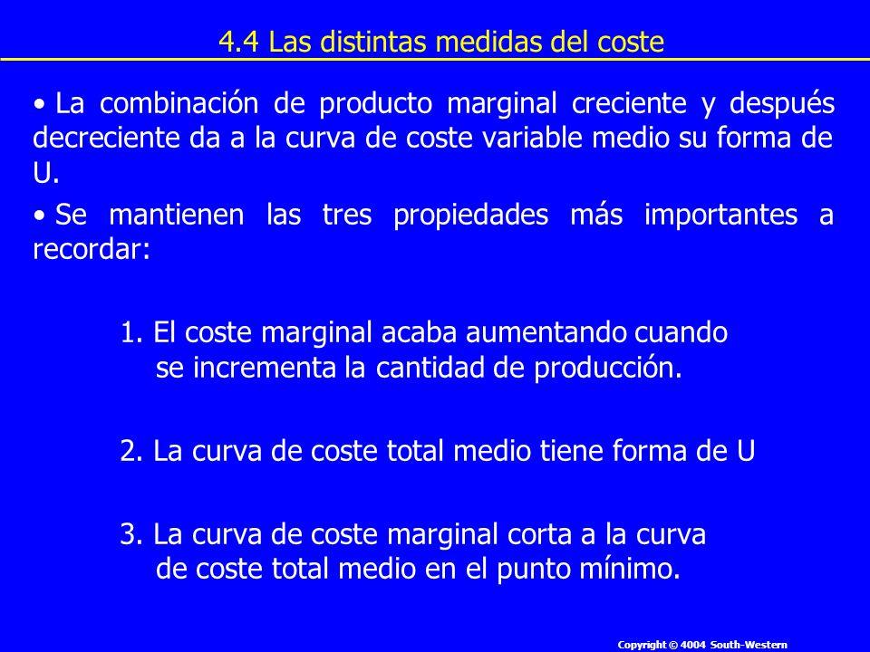 Copyright © 4004 South-Western La combinación de producto marginal creciente y después decreciente da a la curva de coste variable medio su forma de U