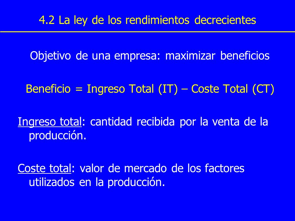 4.2 La ley de los rendimientos decrecientes Examinemos la relación entre el proceso de Producción de la empresa y su coste total.