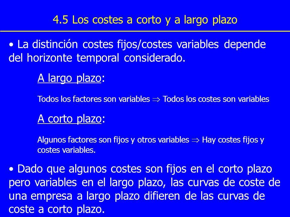 Copyright © 4004 South-Western 4.5 Los costes a corto y a largo plazo La distinción costes fijos/costes variables depende del horizonte temporal consi