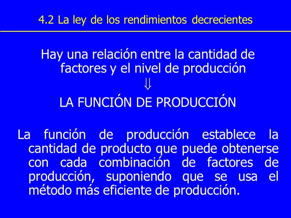 4.2 La ley de los rendimientos decrecientes Hay una relación entre la cantidad de factores y el nivel de producción LA FUNCIÓN DE PRODUCCIÓN La funció