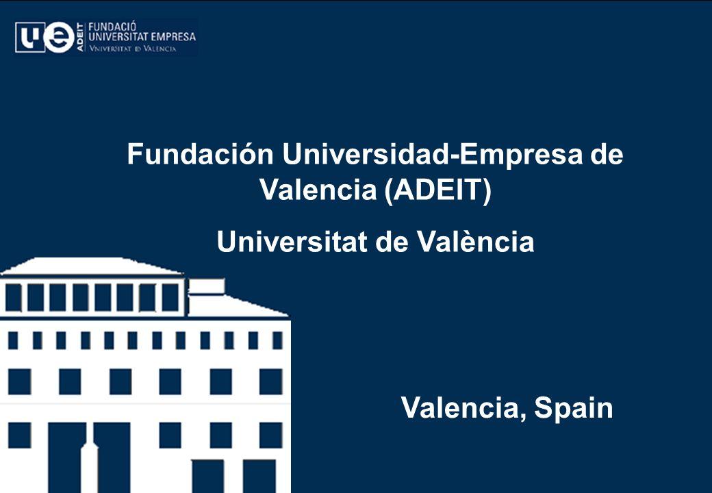 ADEIT ADEIT – FUNDACIÓN UNIVERSIDAD-EMPRESA DE VALENCIA - UNIVERSITAT DE VALENCIA (ES) 2 ADEIT – FUNDACIÓN UNIVERSIDAD-EMPRESA DE VALENCIA ADEIT – FUNDACIÓN UNIVERSIDAD-EMPRESA DE VALENCIA PRINCIPAL OBJETIVO: Facilitar el diálogo entre la Universitat y la empresa.