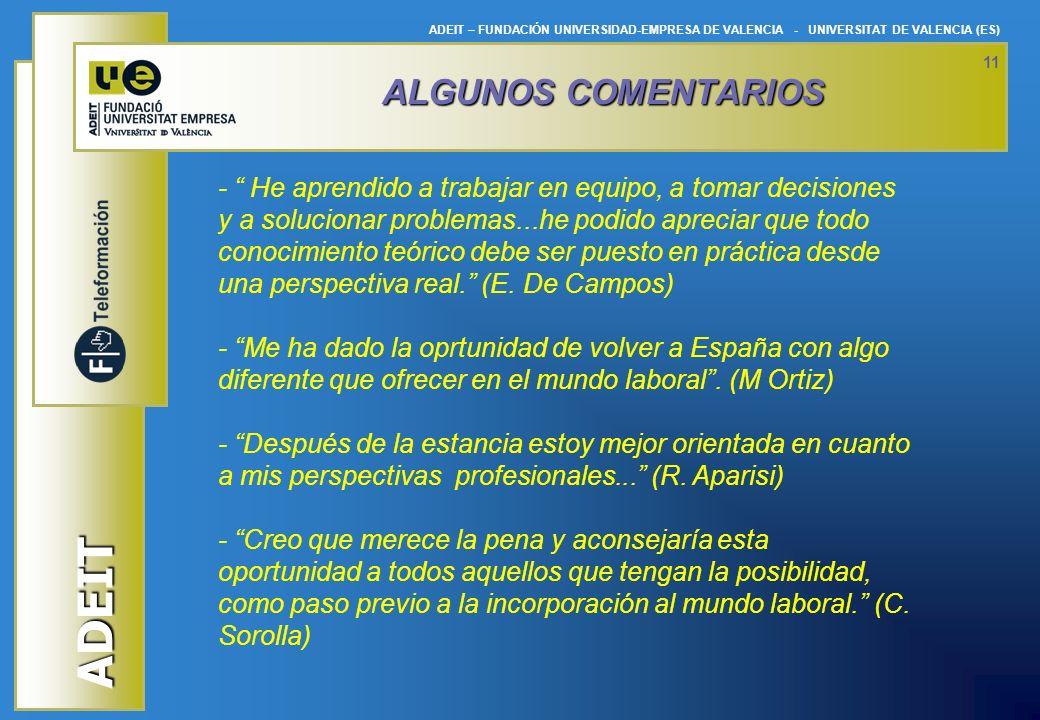 ADEIT ADEIT – FUNDACIÓN UNIVERSIDAD-EMPRESA DE VALENCIA - UNIVERSITAT DE VALENCIA (ES) 11 ALGUNOS COMENTARIOS - He aprendido a trabajar en equipo, a t