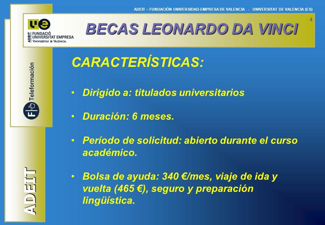 ADEIT ADEIT – FUNDACIÓN UNIVERSIDAD-EMPRESA DE VALENCIA - UNIVERSITAT DE VALENCIA (ES) 4 BECAS LEONARDODA VINCI BECAS LEONARDO DA VINCI CARACTERÍSTICA