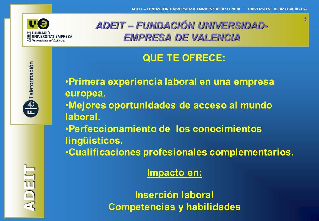 ADEIT ADEIT – FUNDACIÓN UNIVERSIDAD-EMPRESA DE VALENCIA - UNIVERSITAT DE VALENCIA (ES) 5 Impacto en: Inserción laboral Competencias y habilidades ADEI