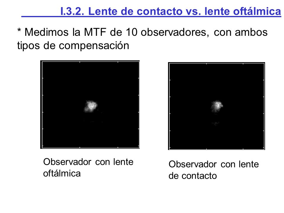 * Medimos la MTF de 10 observadores, con ambos tipos de compensación I.3.2. Lente de contacto vs. lente oftálmica Observador con lente oftálmica Obser
