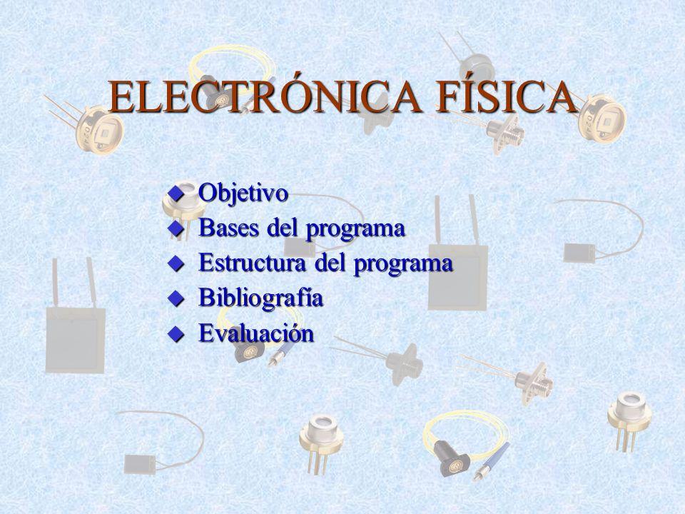ELECTRÓNICA FÍSICA u Objetivo u Bases del programa u Estructura del programa u Bibliografía u Evaluación