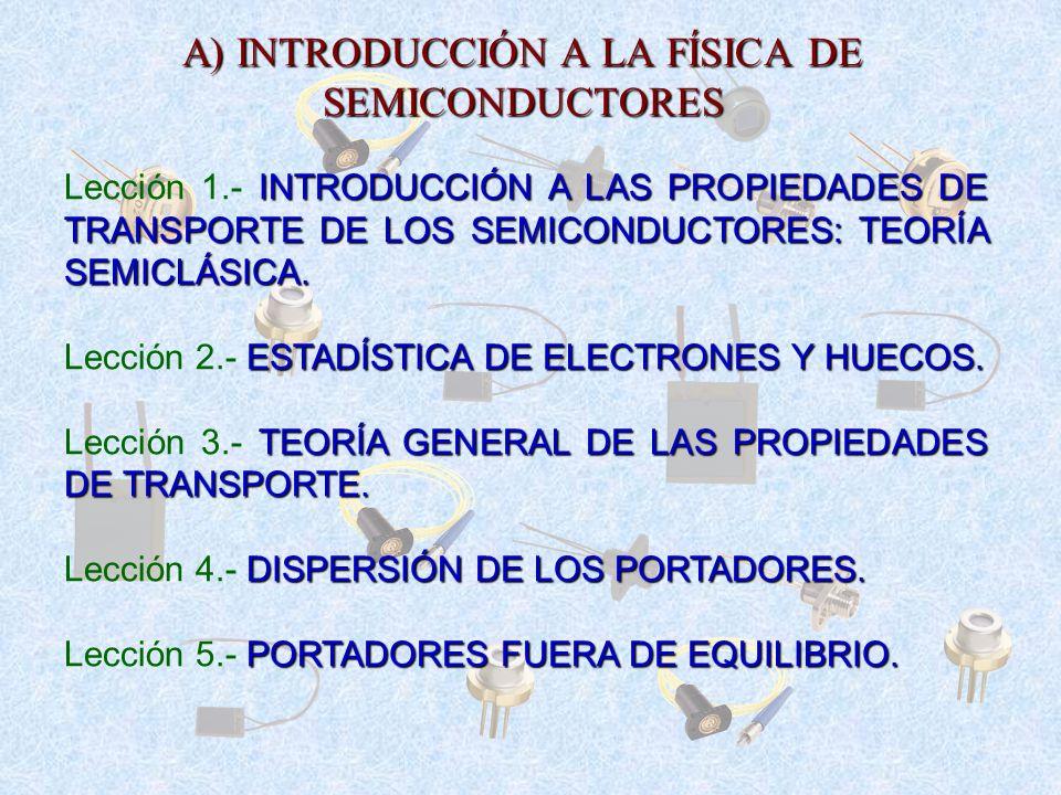 A) INTRODUCCIÓN A LA FÍSICA DE SEMICONDUCTORES INTRODUCCIÓN A LAS PROPIEDADES DE TRANSPORTE DE LOS SEMICONDUCTORES: TEORÍA SEMICLÁSICA. Lección 1. INT