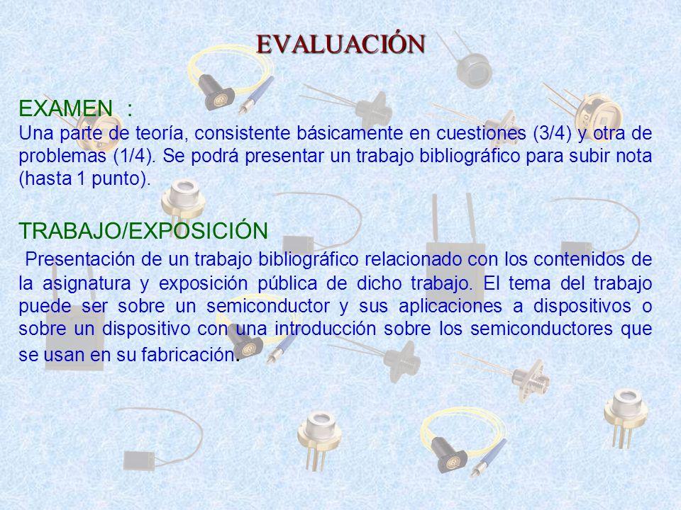 EVALUACIÓN EXAMEN : Una parte de teoría, consistente básicamente en cuestiones (3/4) y otra de problemas (1/4). Se podrá presentar un trabajo bibliogr