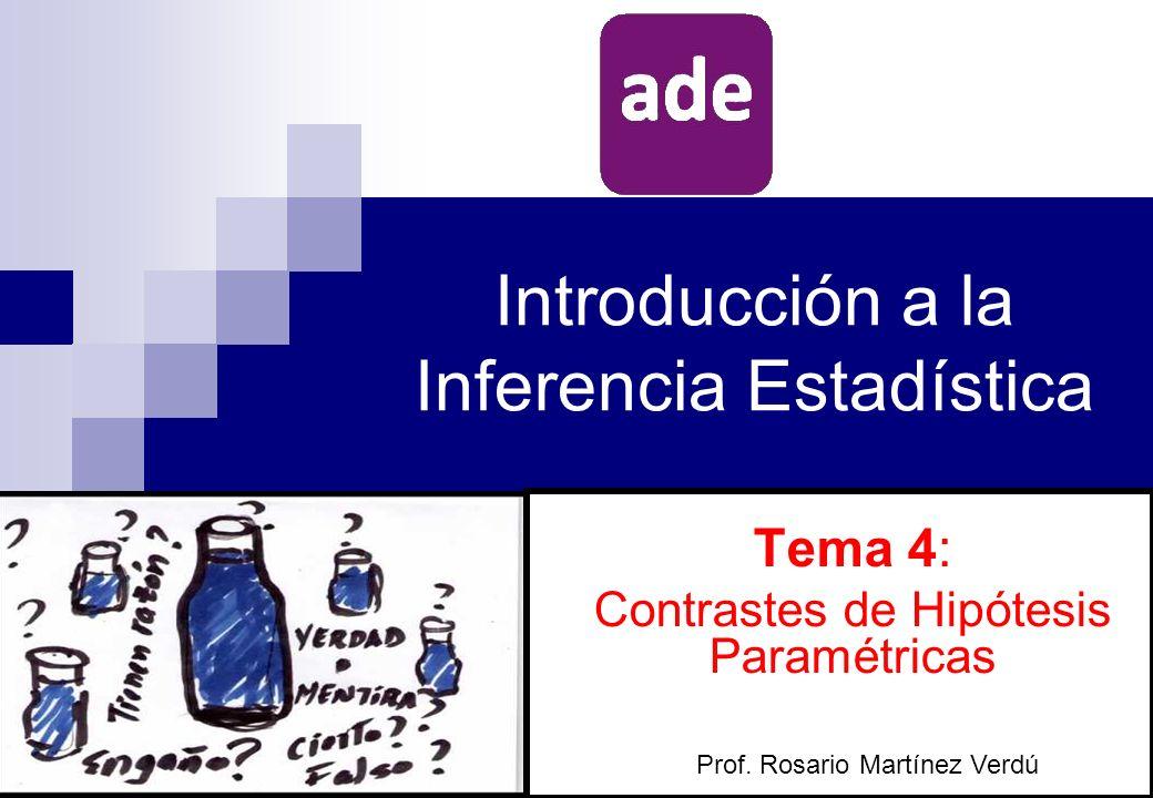TEMA 4: CONTRASTES DE HIPÓTESIS PARAMÉTRICAS 1.