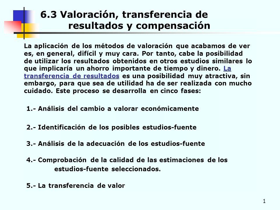 1 6.3 Valoración, transferencia de resultados y compensación La aplicación de los métodos de valoración que acabamos de ver es, en general, difícil y muy cara.