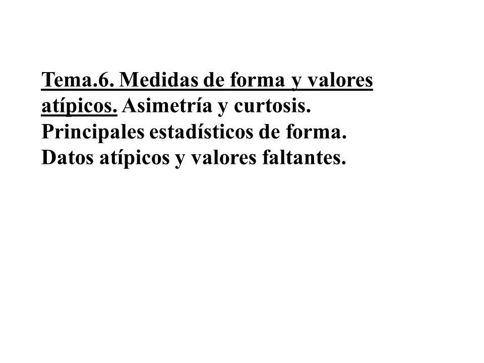 Tema.6. Medidas de forma y valores atípicos. Asimetría y curtosis. Principales estadísticos de forma. Datos atípicos y valores faltantes.