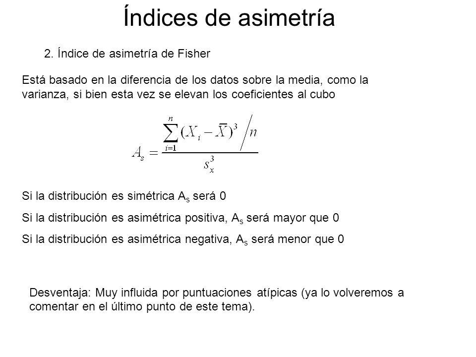 Índices de asimetría 2. Índice de asimetría de Fisher Está basado en la diferencia de los datos sobre la media, como la varianza, si bien esta vez se