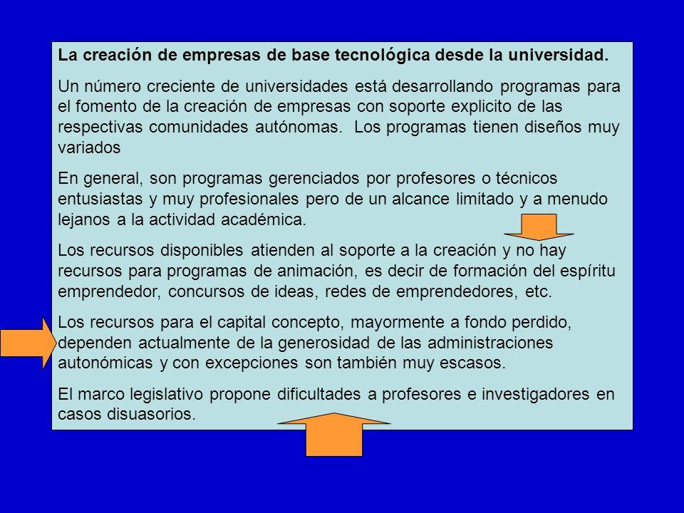 La creación de empresas de base tecnológica desde la universidad. Un número creciente de universidades está desarrollando programas para el fomento de