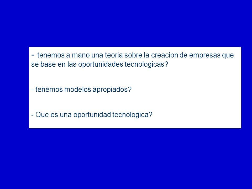 - tenemos a mano una teoria sobre la creacion de empresas que se base en las oportunidades tecnologicas? - tenemos modelos apropiados? - Que es una op