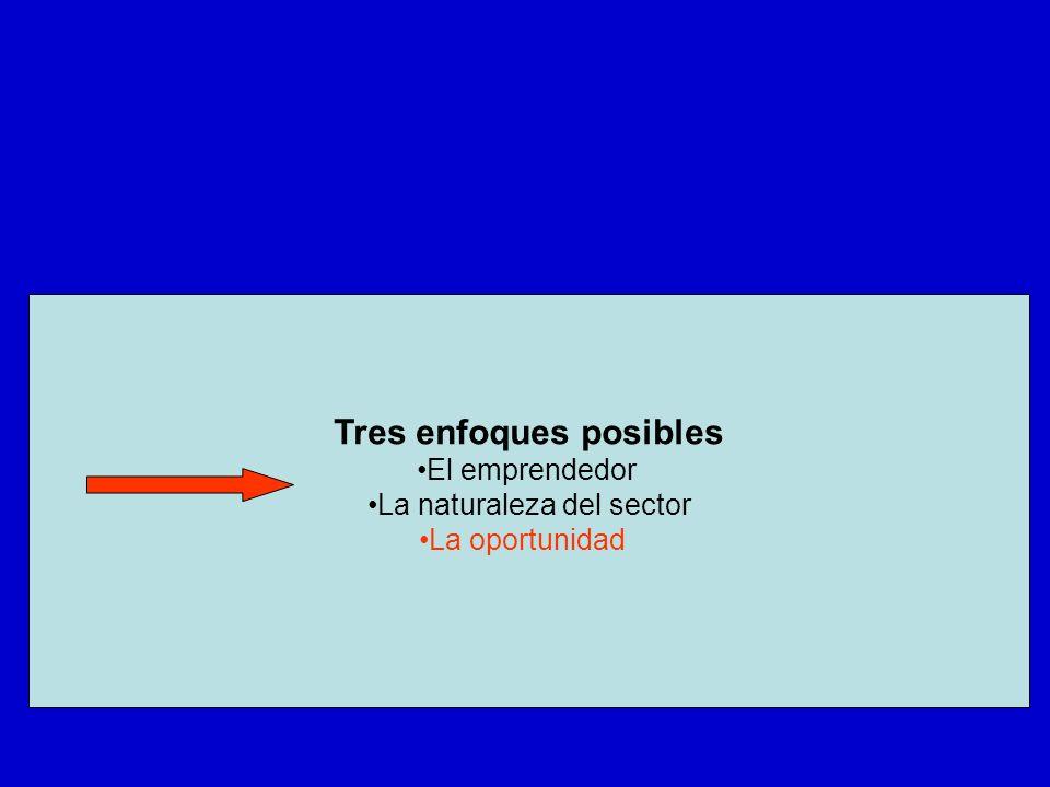 Tres enfoques posibles El emprendedor La naturaleza del sector La oportunidad
