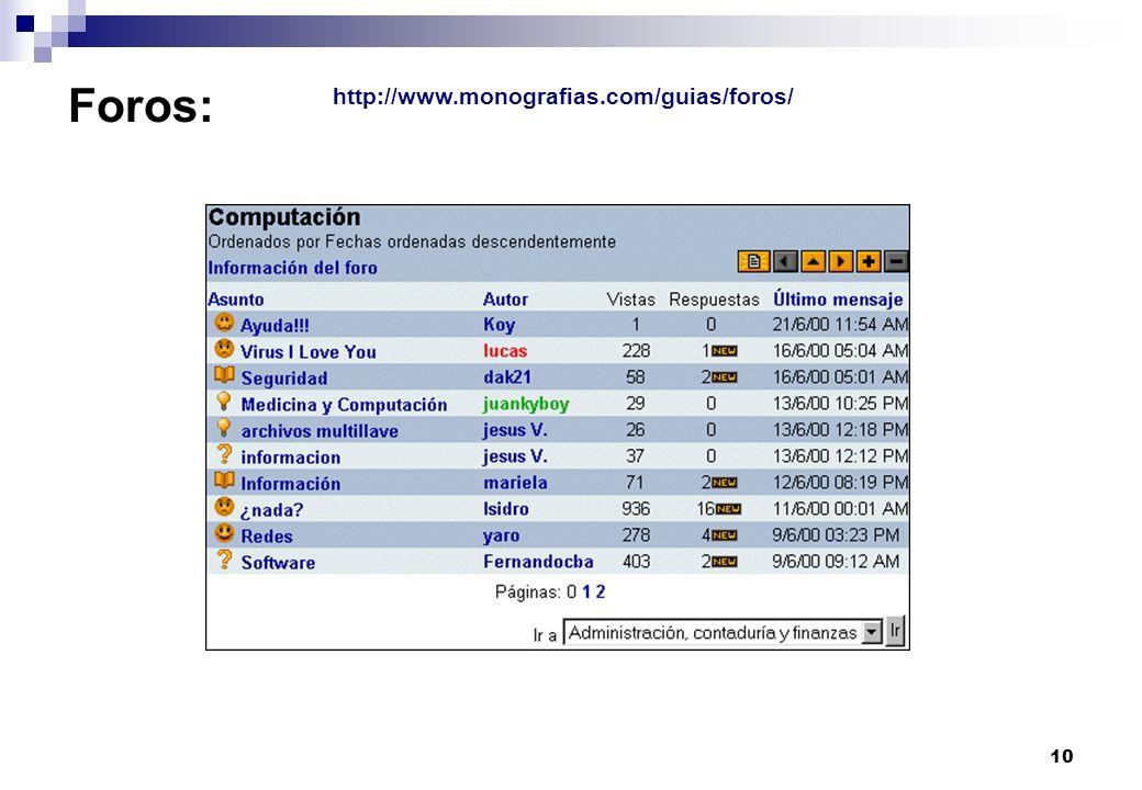10 Foros: http://www.monografias.com/guias/foros/