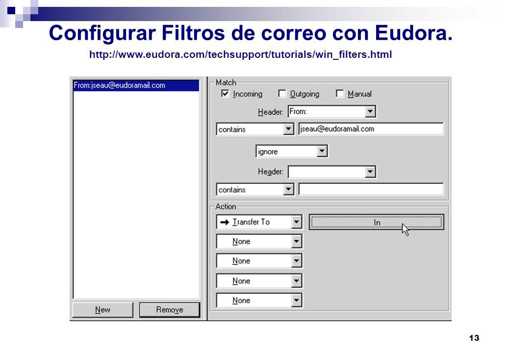 13 Configurar Filtros de correo con Eudora. http://www.eudora.com/techsupport/tutorials/win_filters.html