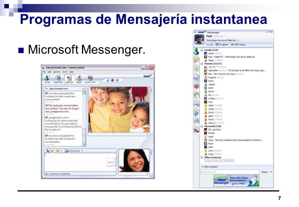 7 Programas de Mensajería instantanea Microsoft Messenger.