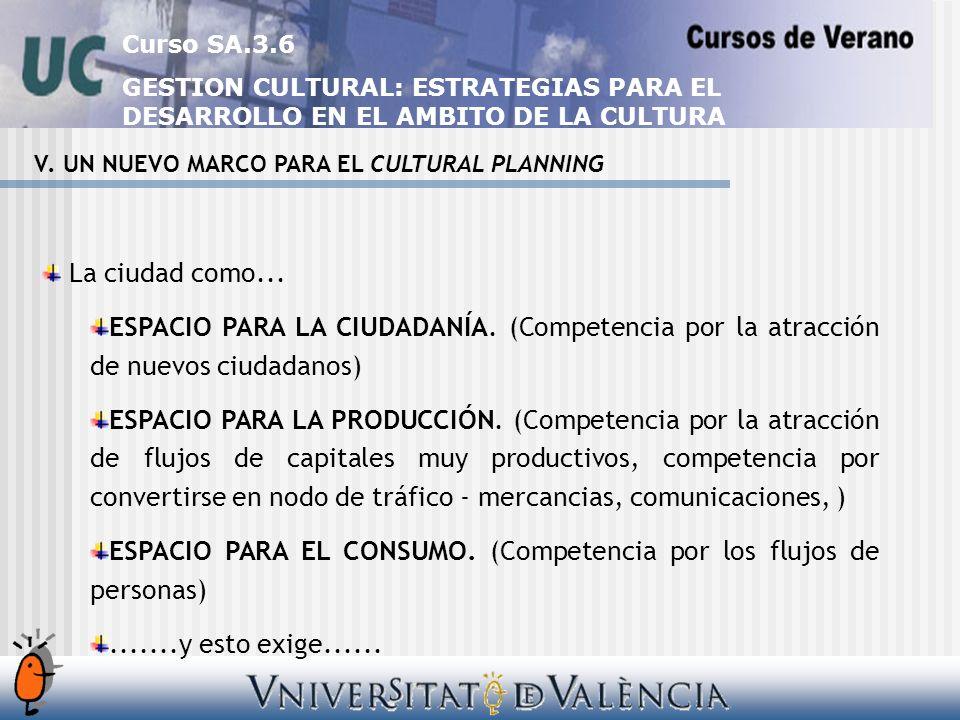 Curso SA.3.6 GESTION CULTURAL: ESTRATEGIAS PARA EL DESARROLLO EN EL AMBITO DE LA CULTURA V.