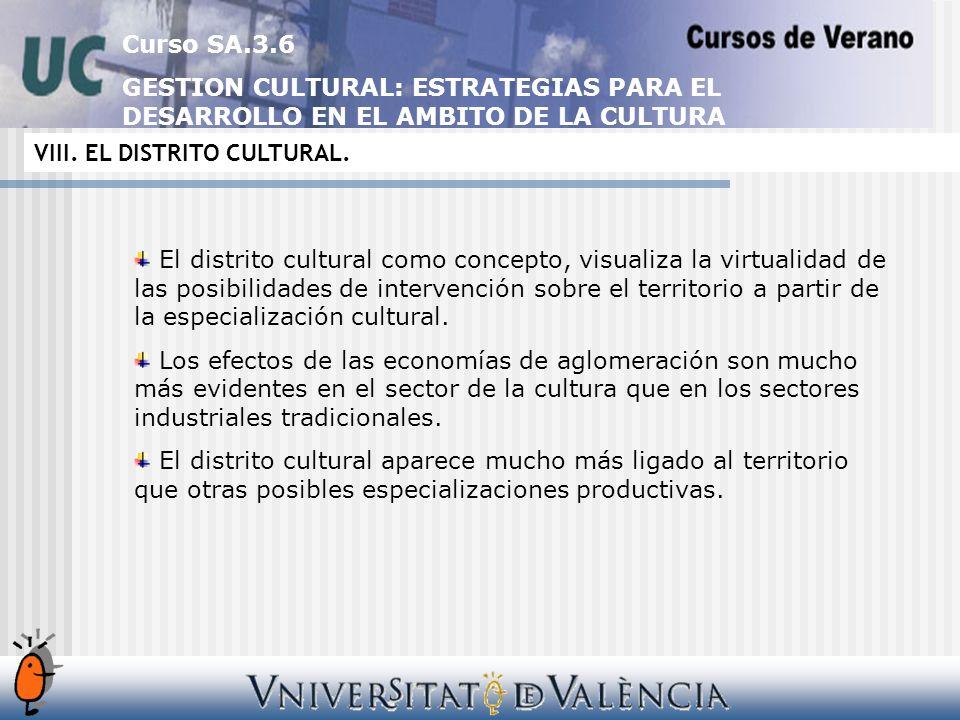 Curso SA.3.6 GESTION CULTURAL: ESTRATEGIAS PARA EL DESARROLLO EN EL AMBITO DE LA CULTURA VIII.