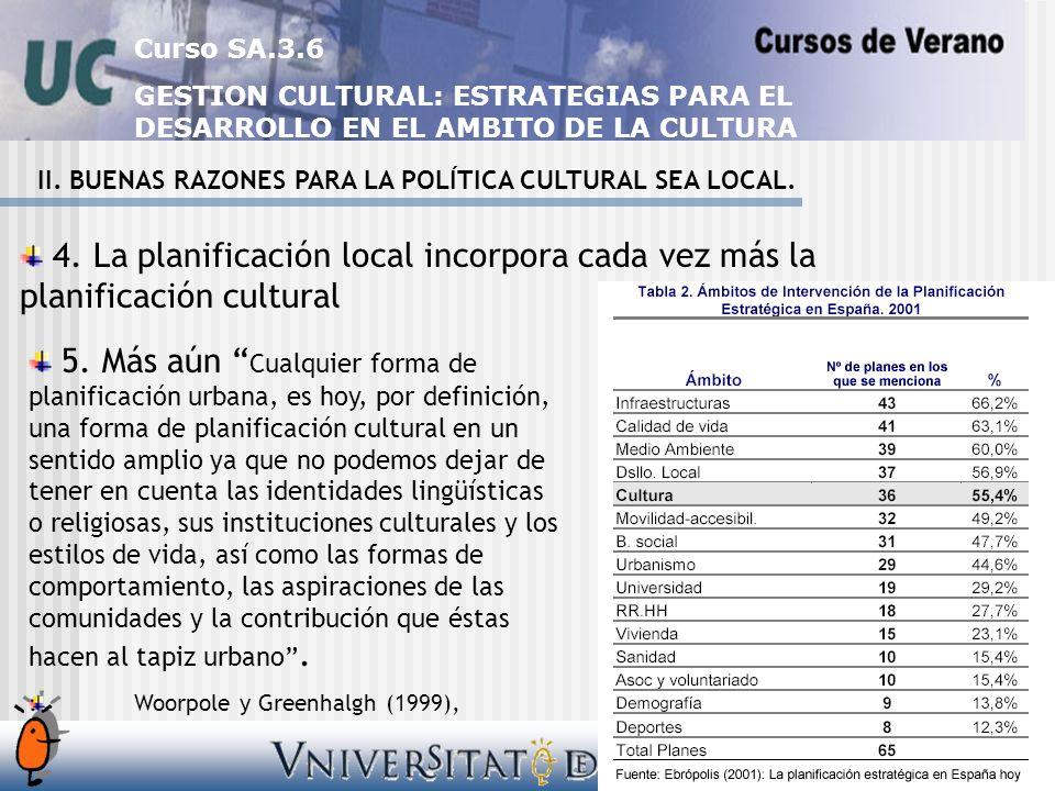 Curso SA.3.6 GESTION CULTURAL: ESTRATEGIAS PARA EL DESARROLLO EN EL AMBITO DE LA CULTURA II.