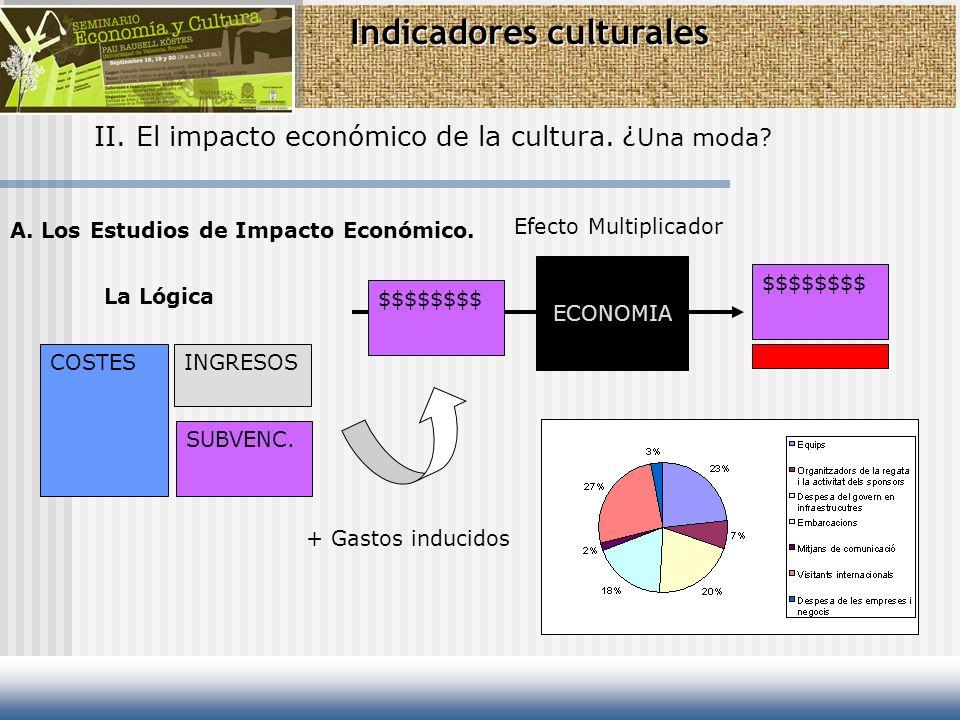 Indicadores culturales II. El impacto económico de la cultura. ¿ Una moda? A. Los Estudios de Impacto Económico. La Lógica COSTESINGRESOS SUBVENC. $$$