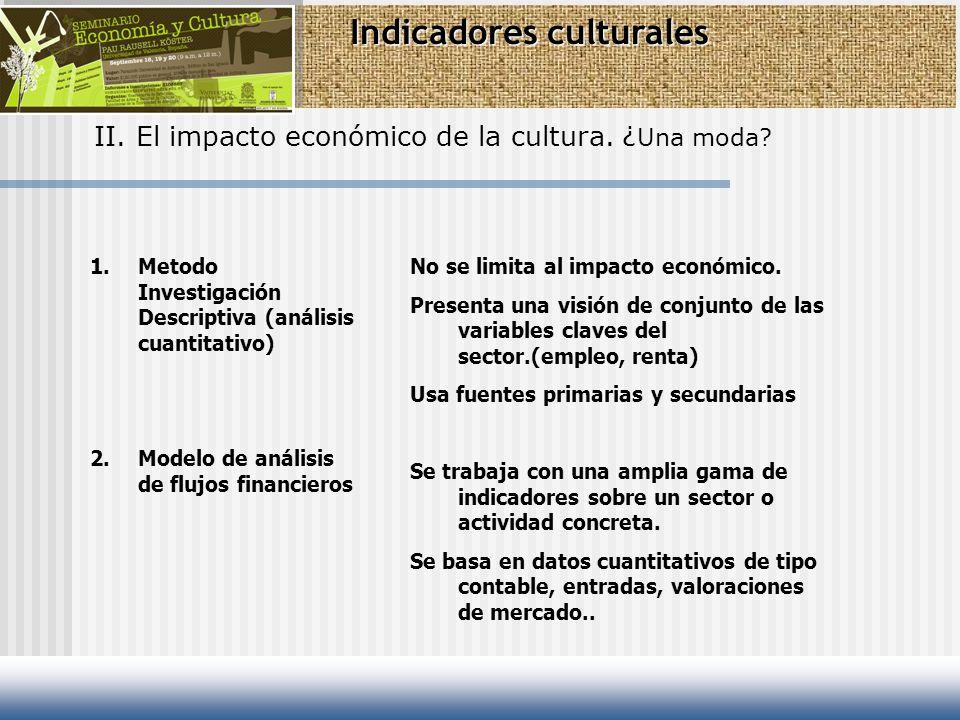 Indicadores culturales II. El impacto económico de la cultura. ¿ Una moda? 1.Metodo Investigación Descriptiva (análisis cuantitativo) 2.Modelo de anál