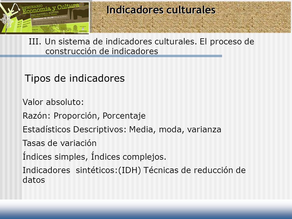 Indicadores culturales III. Un sistema de indicadores culturales. El proceso de construcción de indicadores Valor absoluto: Razón: Proporción, Porcent