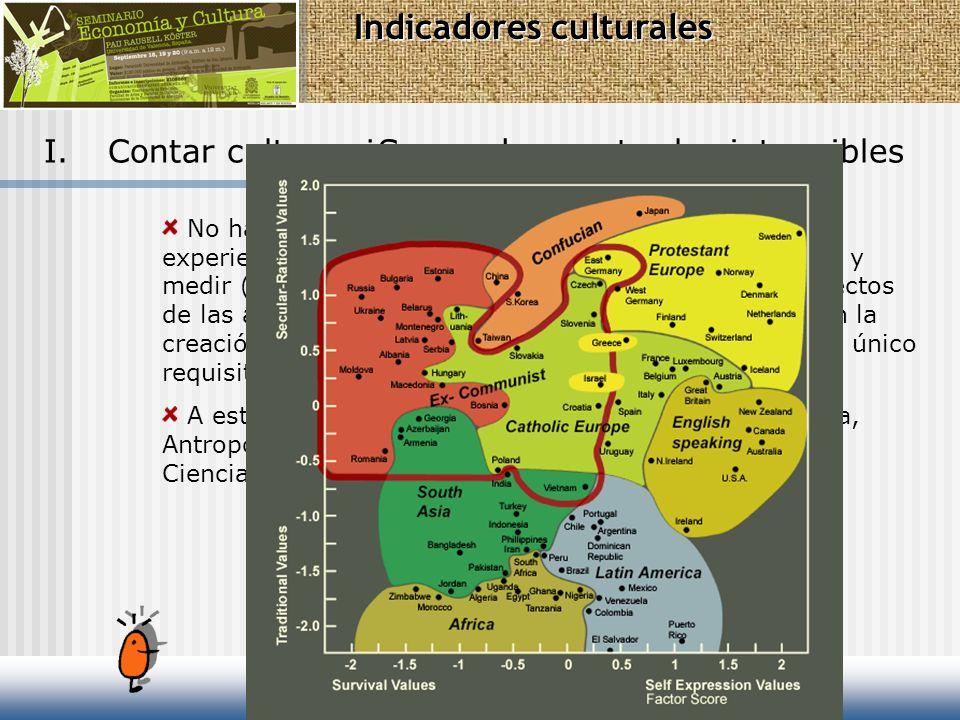 I.Contar cultura. ¿Se pueden contar los intangibles No hay ninguna duda, existen numerosas técnicas y experiencias que nos evidencian la posibilidad d