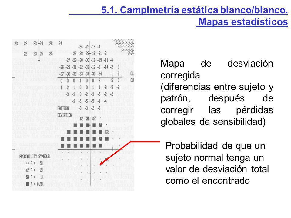 5.1. Campimetría estática blanco/blanco. Mapas estadísticos Mapa de desviación corregida (diferencias entre sujeto y patrón, después de corregir las p
