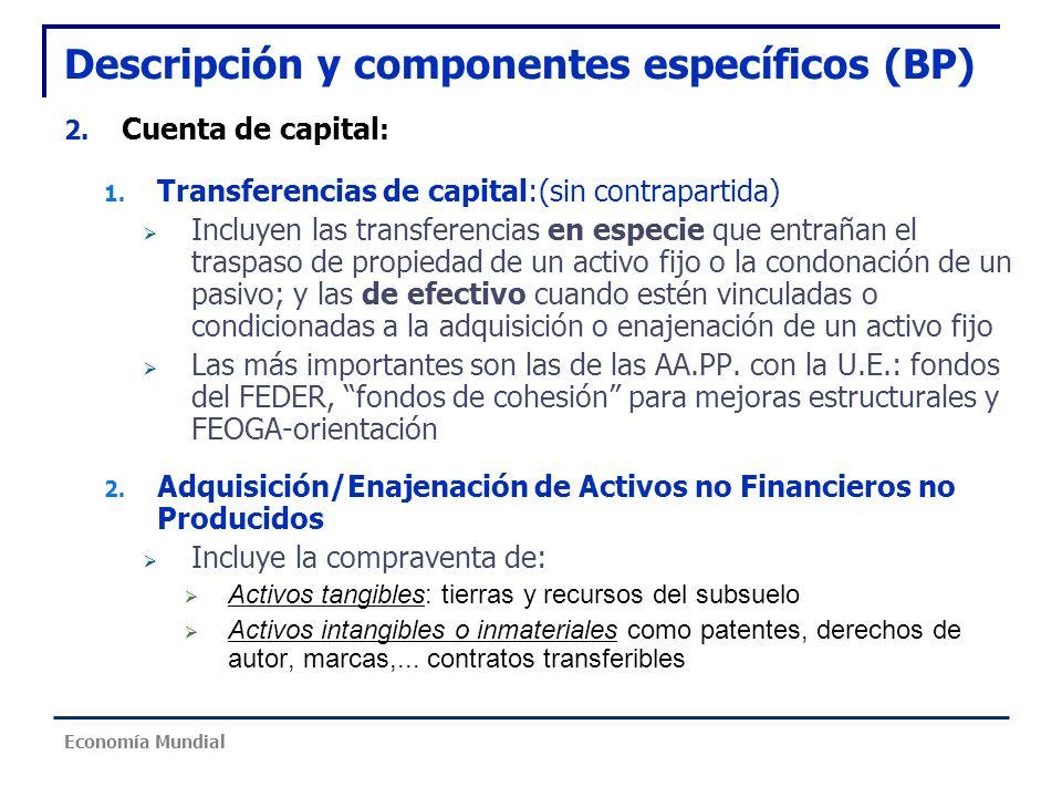 Descripción y componentes específicos (BP) 2. Cuenta de capital : 1. Transferencias de capital:(sin contrapartida) Incluyen las transferencias en espe