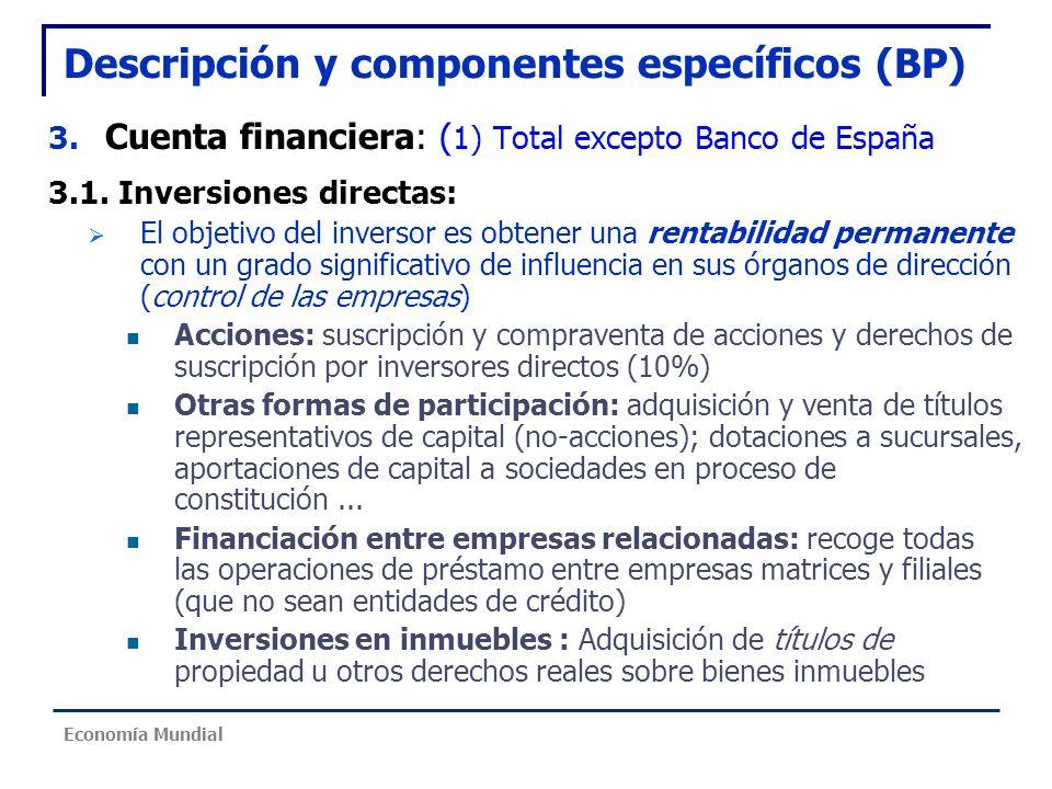 Descripción y componentes específicos (BP) 3. Cuenta financiera: ( 1) Total excepto Banco de España 3.1. Inversiones directas: El objetivo del inverso