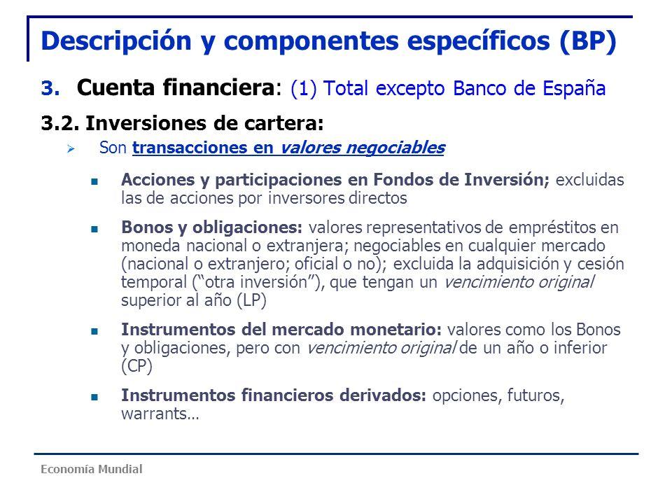 Descripción y componentes específicos (BP) 3. Cuenta financiera: (1) Total excepto Banco de España 3.2. Inversiones de cartera: Son transacciones en v