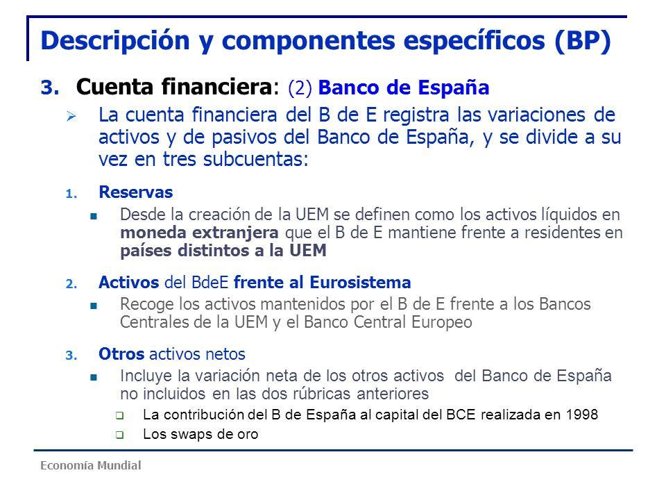 Descripción y componentes específicos (BP) 3. Cuenta financiera: (2) Banco de España La cuenta financiera del B de E registra las variaciones de activ