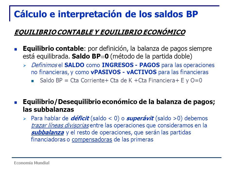 Cálculo e interpretación de los saldos BP EQUILIBRIO CONTABLE Y EQUILIBRIO ECONÓMICO Equilibrio contable: por definición, la balanza de pagos siempre