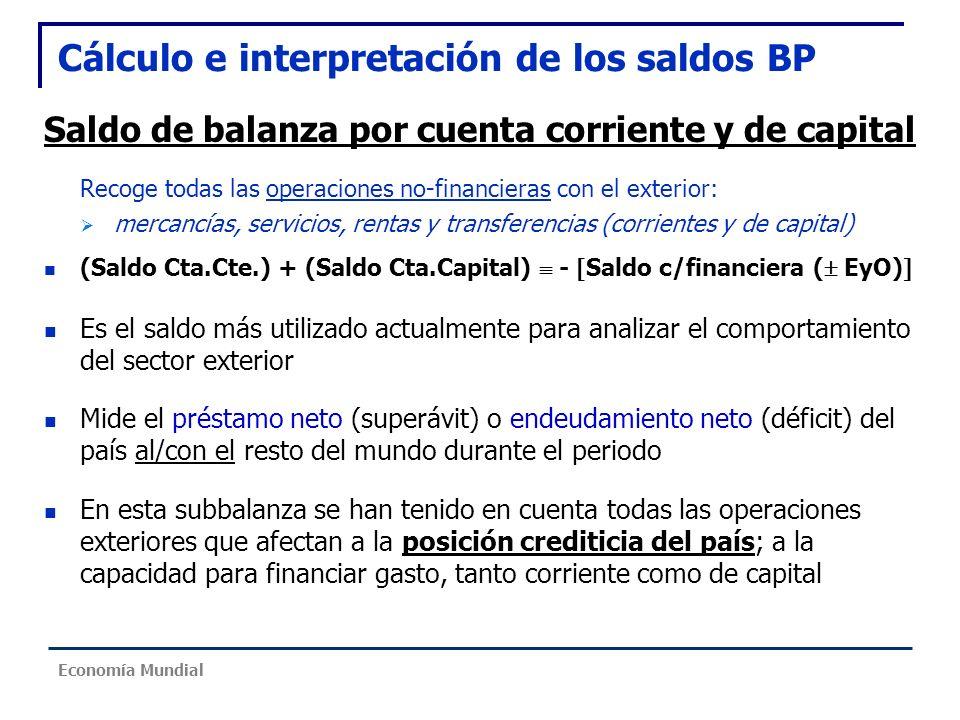Cálculo e interpretación de los saldos BP Saldo de balanza por cuenta corriente y de capital Recoge todas las operaciones no-financieras con el exteri
