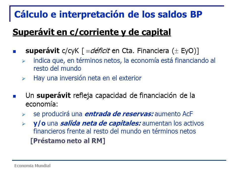 Cálculo e interpretación de los saldos BP Superávit en c/corriente y de capital superávit c/cyK [ déficit en Cta. Financiera ( EyO)] indica que, en té