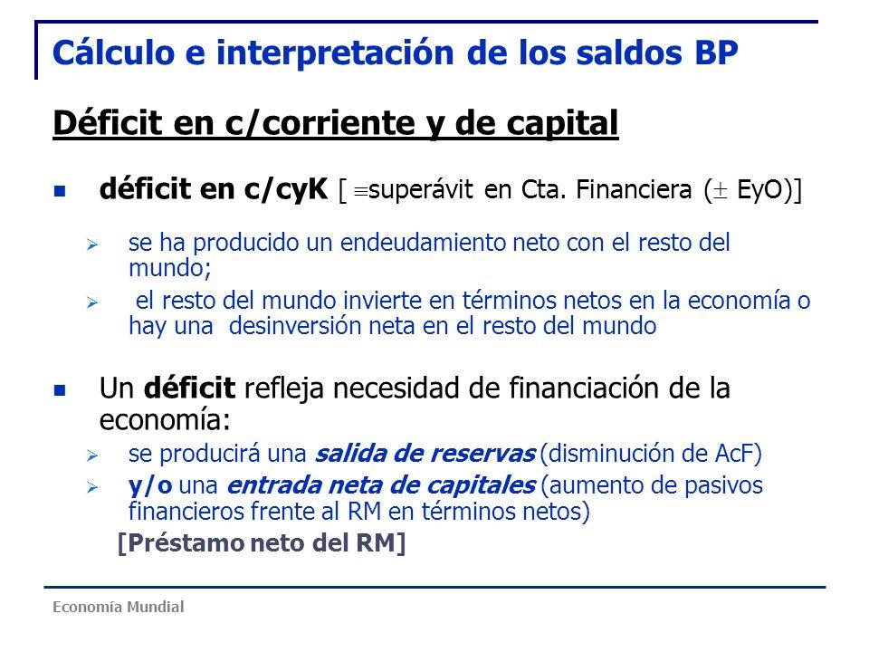Cálculo e interpretación de los saldos BP Déficit en c/corriente y de capital déficit en c/cyK [ superávit en Cta. Financiera ( EyO)] se ha producido