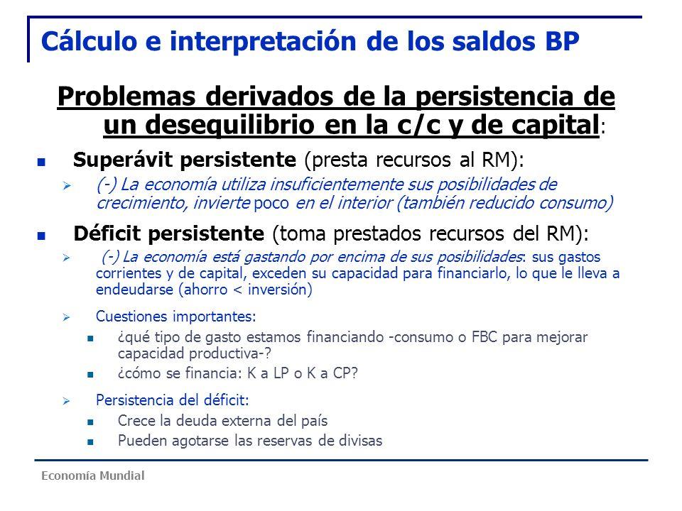 Cálculo e interpretación de los saldos BP Problemas derivados de la persistencia de un desequilibrio en la c/c y de capital : Superávit persistente (p