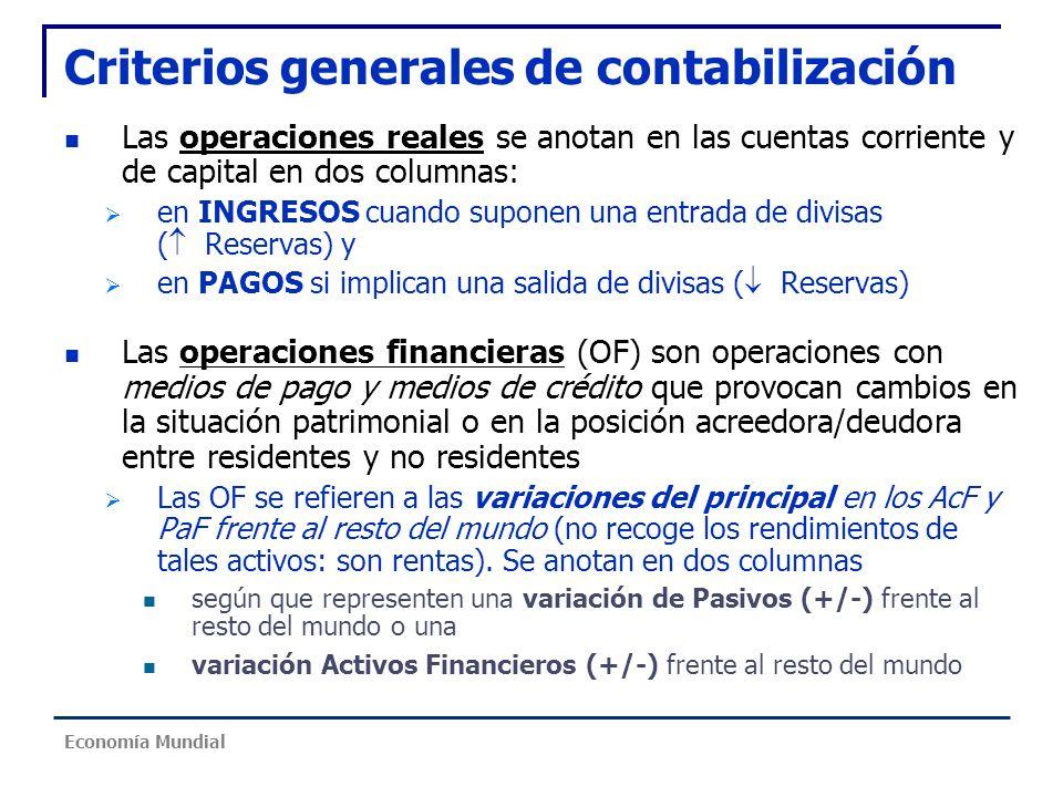 Criterios generales de contabilización Las operaciones reales se anotan en las cuentas corriente y de capital en dos columnas: en INGRESOS cuando supo