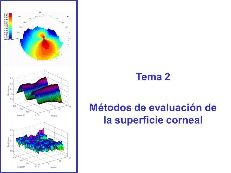 1- Métodos punto a punto 1.1.- Queratómetros 1.2- Queratometría periférica 1.3.- Topógrafo corneal: A) Interpretación a una topografía B) Topógrafos de última generación 2.- Aplicación de las técnicas de Fourier a la topografía corneal 2.1.- Aplicación: Detección precoz del queratocono 3.- Medida de la calidad óptica de la córnea Índice
