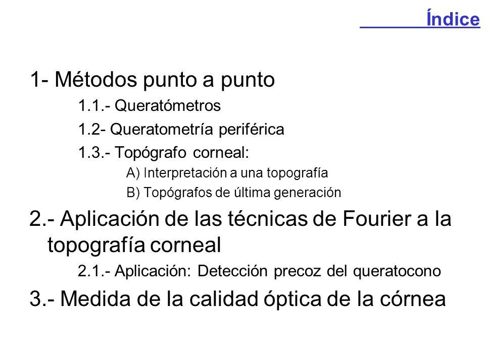 1- Métodos punto a punto 1.1.- Queratómetros 1.2- Queratometría periférica 1.3.- Topógrafo corneal: A) Interpretación a una topografía B) Topógrafos d