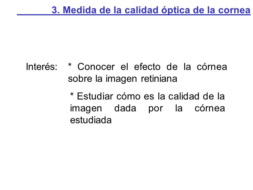 Interés:* Conocer el efecto de la córnea sobre la imagen retiniana * Estudiar cómo es la calidad de la imagen dada por la córnea estudiada 3. Medida d