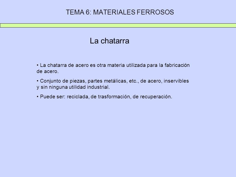 TEMA 6: MATERIALES FERROSOS La chatarra La chatarra de acero es otra materia utilizada para la fabricación de acero. Conjunto de piezas, partes metáli