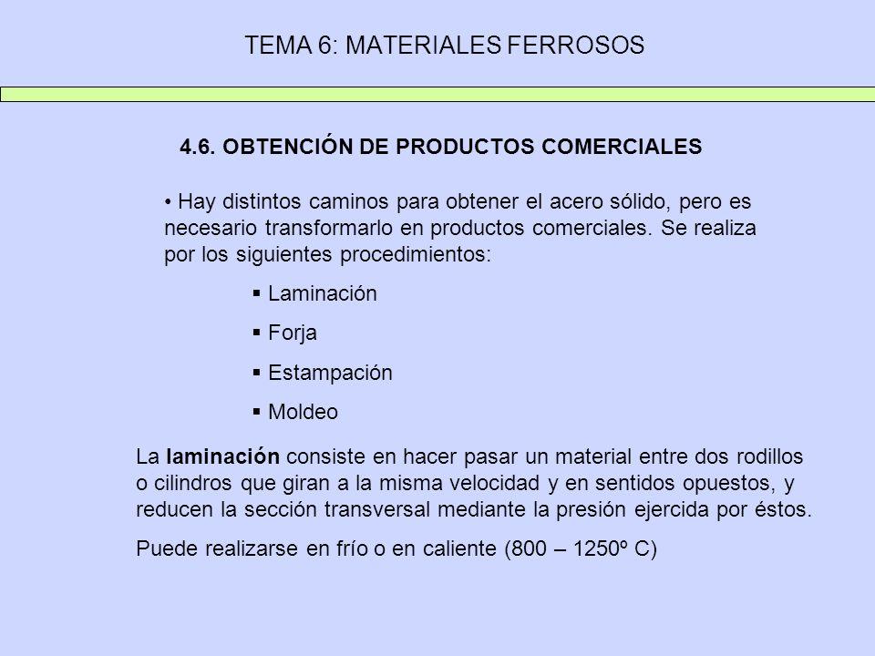 TEMA 6: MATERIALES FERROSOS 4.6. OBTENCIÓN DE PRODUCTOS COMERCIALES Hay distintos caminos para obtener el acero sólido, pero es necesario transformarl
