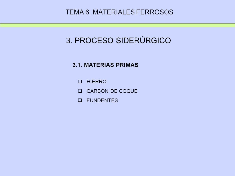 TEMA 6: MATERIALES FERROSOS 3. PROCESO SIDERÚRGICO HIERRO CARBÓN DE COQUE FUNDENTES 3.1. MATERIAS PRIMAS