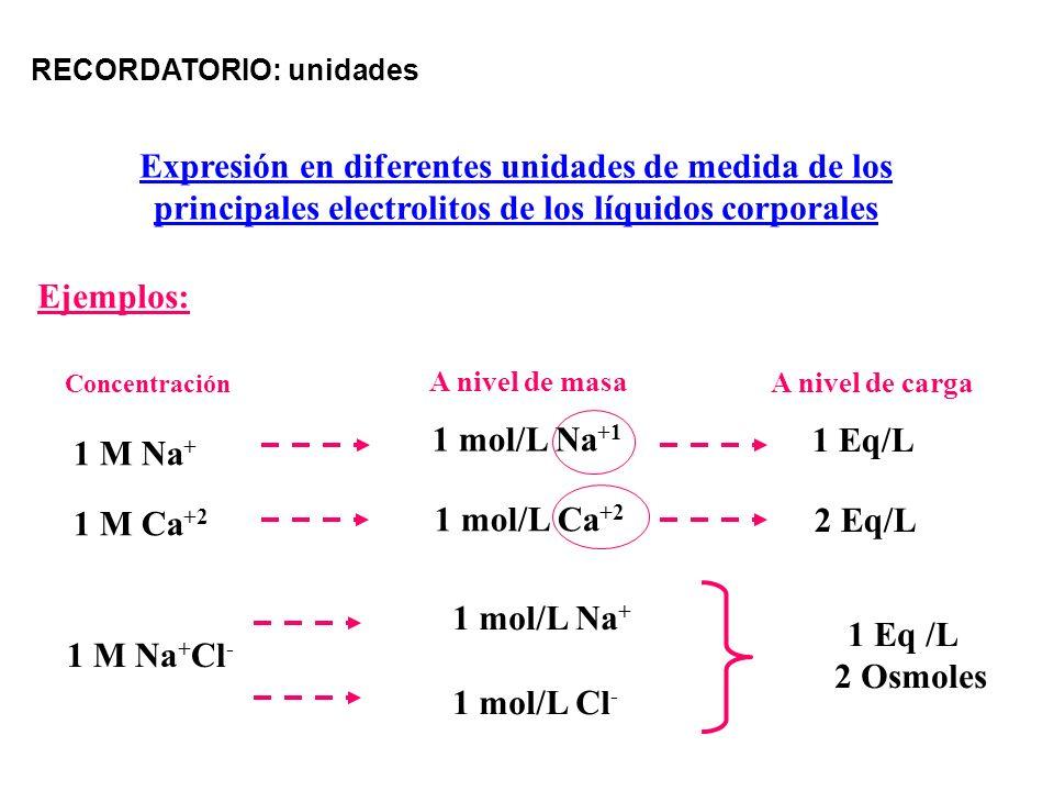 A nivel de masa 1 mol/L Na +1 1 mol/L Ca +2 1 Eq/L 2 Eq/L A nivel de carga 1 M Na + 1 M Ca +2 Concentración Expresión en diferentes unidades de medida