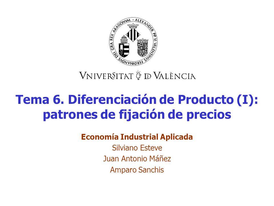 Tema 6. Diferenciación de Producto (I): patrones de fijación de precios Economía Industrial Aplicada Silviano Esteve Juan Antonio Máñez Amparo Sanchis