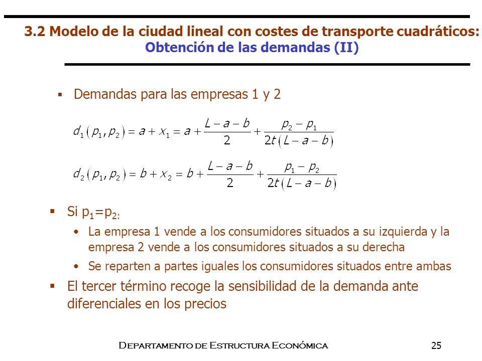 Departamento de Estructura Económica25 Si p 1 =p 2: La empresa 1 vende a los consumidores situados a su izquierda y la empresa 2 vende a los consumido